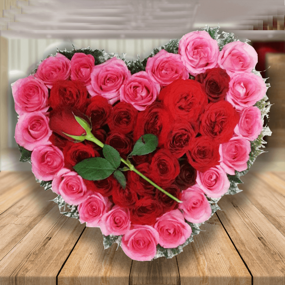 Basket of 20 Pink Roses and 20 Red Roses