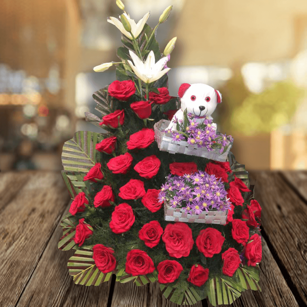 Basket of 35 Red Roses